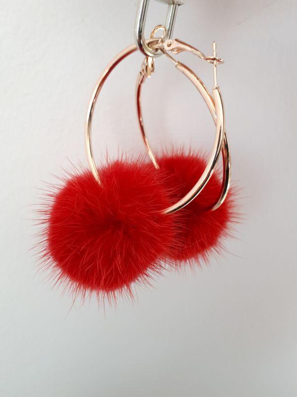 Κόκκινα γούνινα  πομπομ σκουλαρίκια