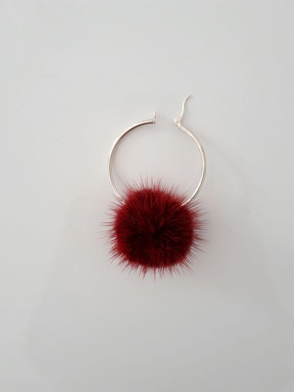925 Ασήμι  κρίκοι σκουλαρίκια με μπορντο γούνινα  πομπομ