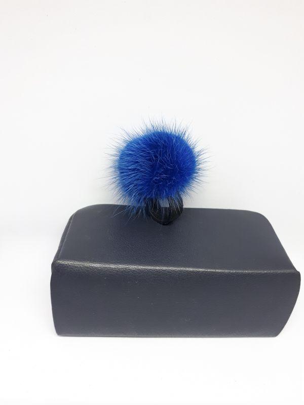 Μπλε   γούνινο δαχτυλίδι