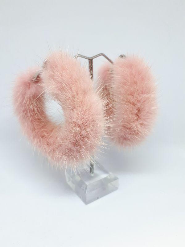 Παλ ροζ γούνινα  κρίκοι σκουλαρίκια