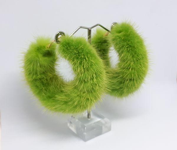 Γούνινα  κρίκοι σκουλαρίκια με λαχανί γούνα