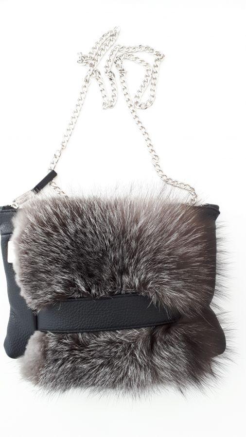 Δερμάτινη clutch  τσάντα me   γούνα