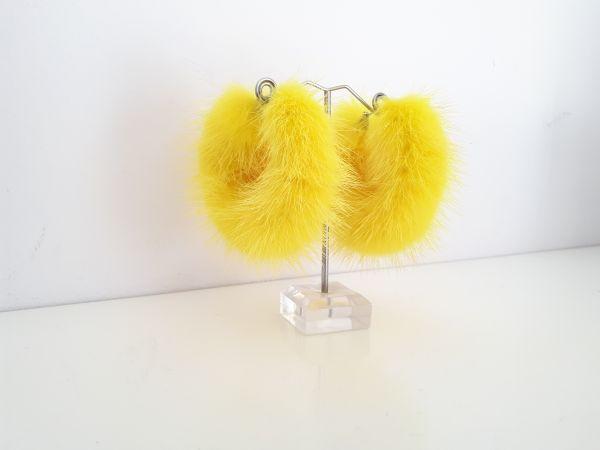 Κίτρινα γούνινα κρίκοι σκουλαρίκια