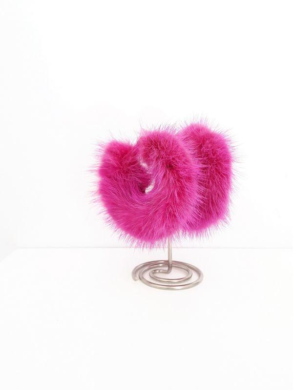 Φούξια  γούνινα  κρίκοι σκουλαρίκια