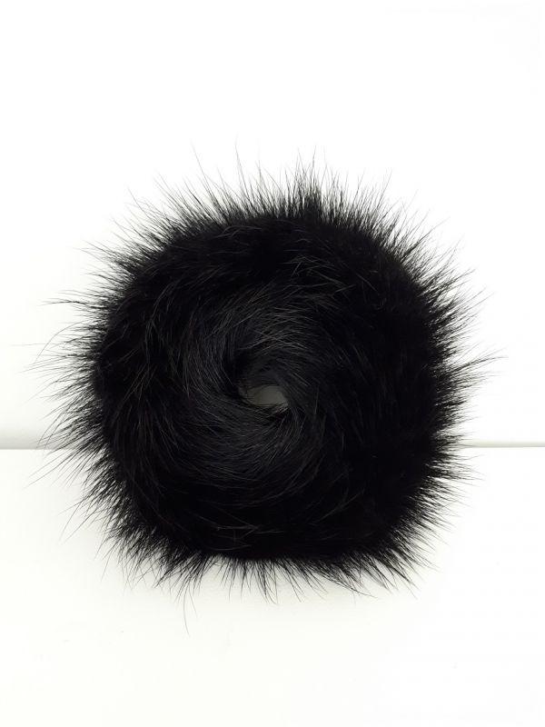 Μαύρο γούνινο λαστιχάκι για τα μαλλιά