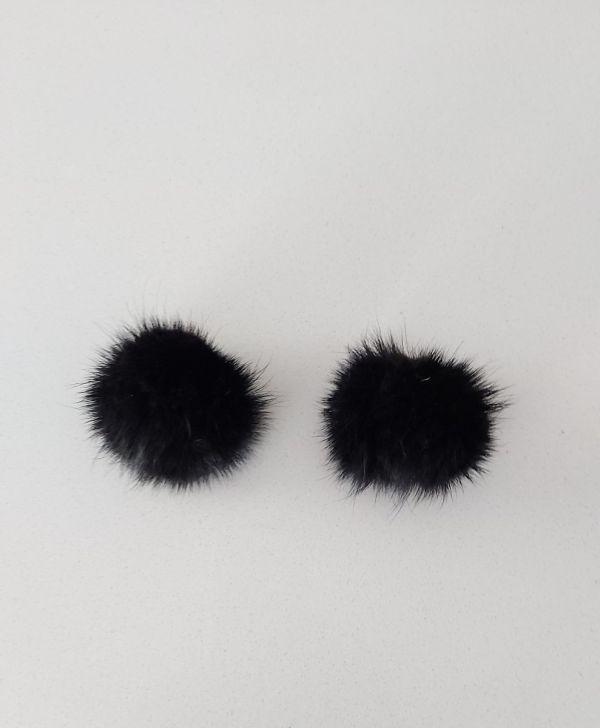 Μαύρα γούνινα πομπομ κλιπς  από βιζόν