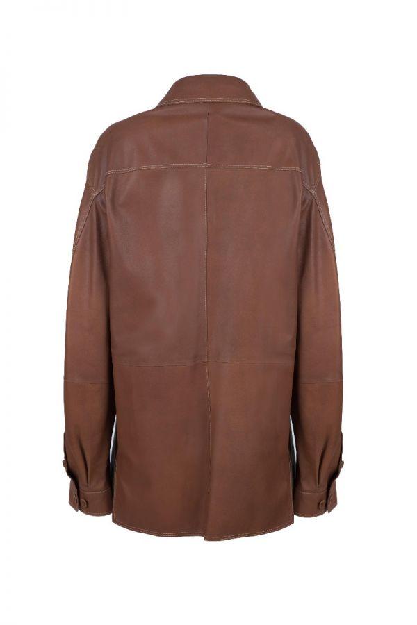 BAZAAR 3904-Αντρικό ταμπά  δερμάτινο πουκάμισο