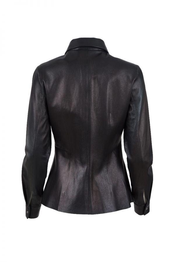 BAZAAR 4108-  Μαλακό γυναικείο δερμάτινο πουκάμισο