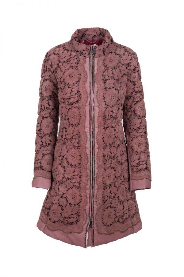 ALBA - Καστόρ παλτό με σχέδια λουλούδια κομμένα με lazer
