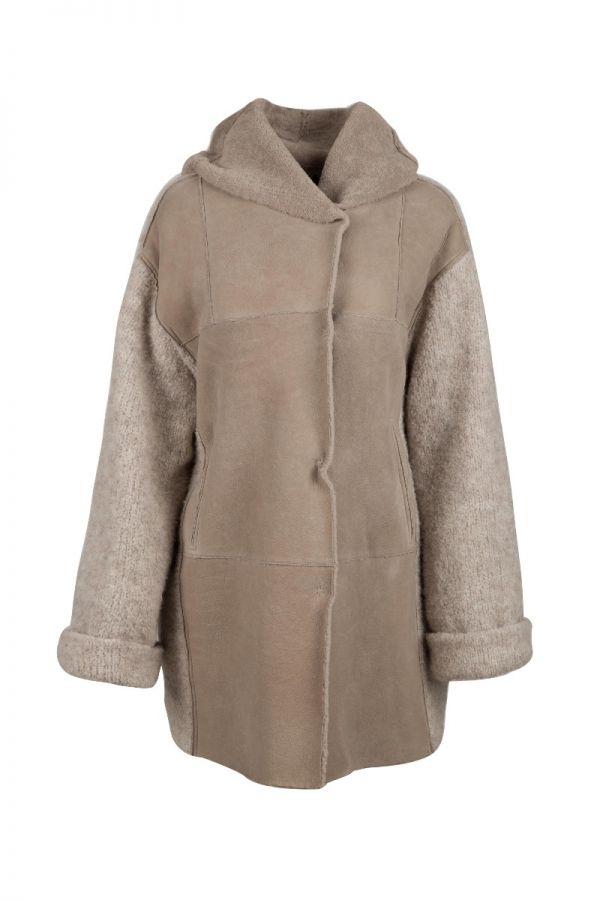 GIMO'S - oversized Γυναικείο Μουτόν παλτό  με πλεκτό