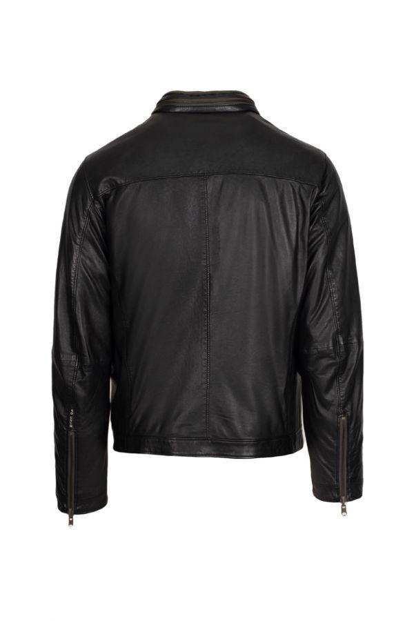GIMO'S-Αντρικό ντουμπλ φας μαύρο δερμάτινο μπουφάν με ενισχυμένη επένδυση.