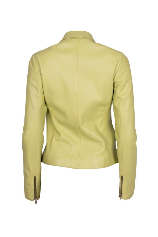 BAZAAR-Women's short apple green leather jacket