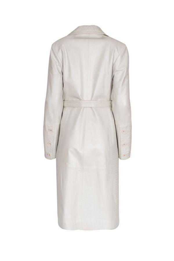 BAZAAR-6172- Γυναικεία λευκή καμπαρντίνα με δερμάτινη ζώνη