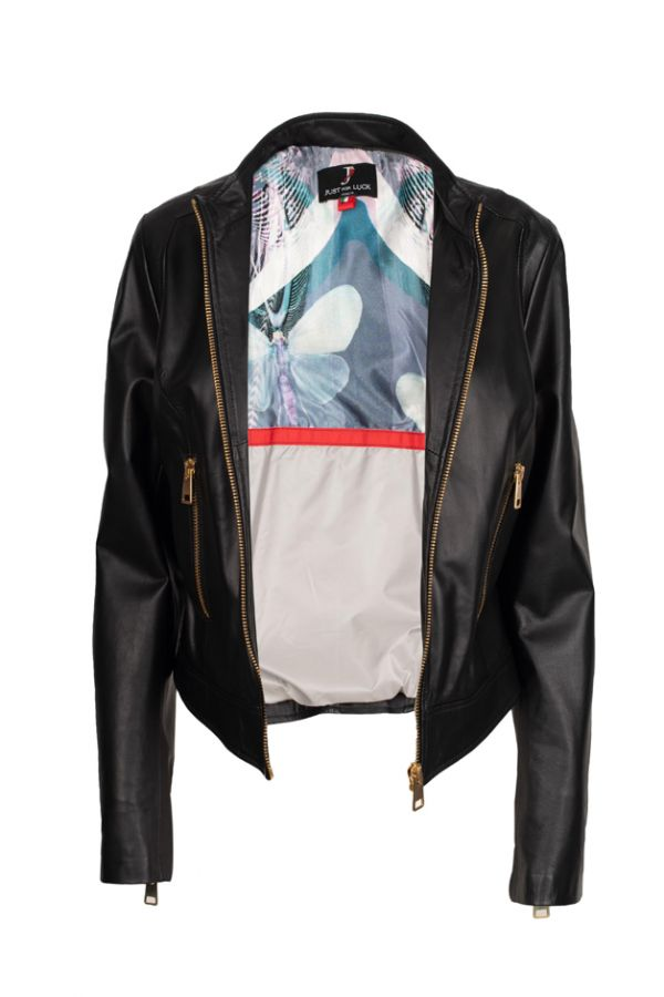 1764-Women's leather short jacket made in Italy