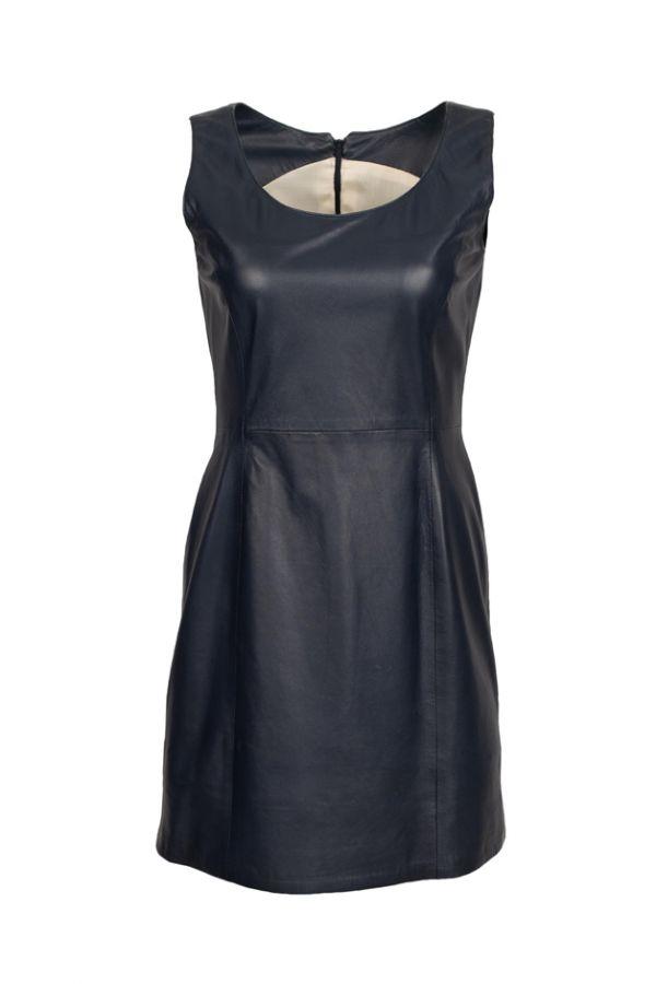 BAZAAR-Μπλε δερμάτινο φόρεμα