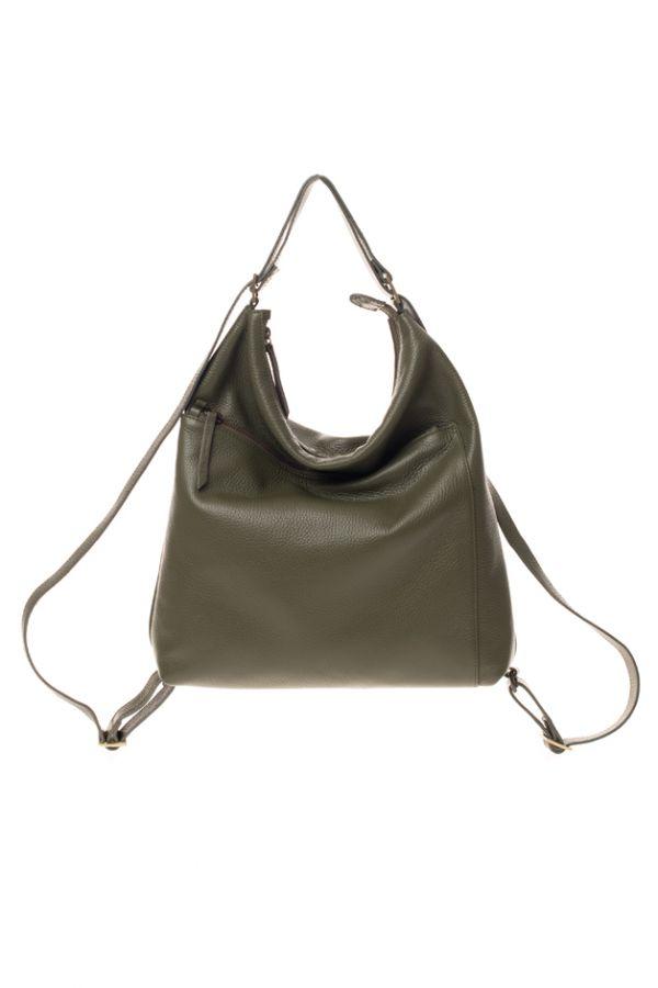 HELOR- Olive Leather backpack / purse