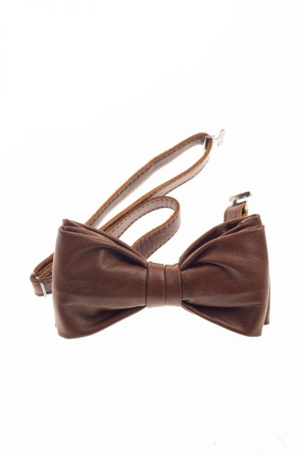 Δερμάτινος φιόγκος, χειροποίητο παπιγιόν για ιδιαίτερες εμφανίσεις και στολές εργασίας.