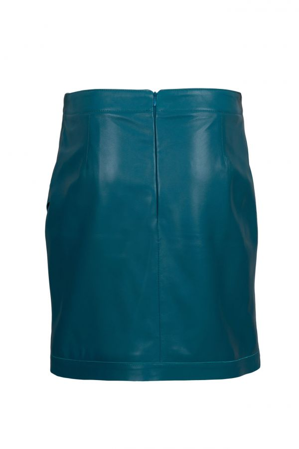 LIANA - Πετρόλ δερμάτινη φούστα