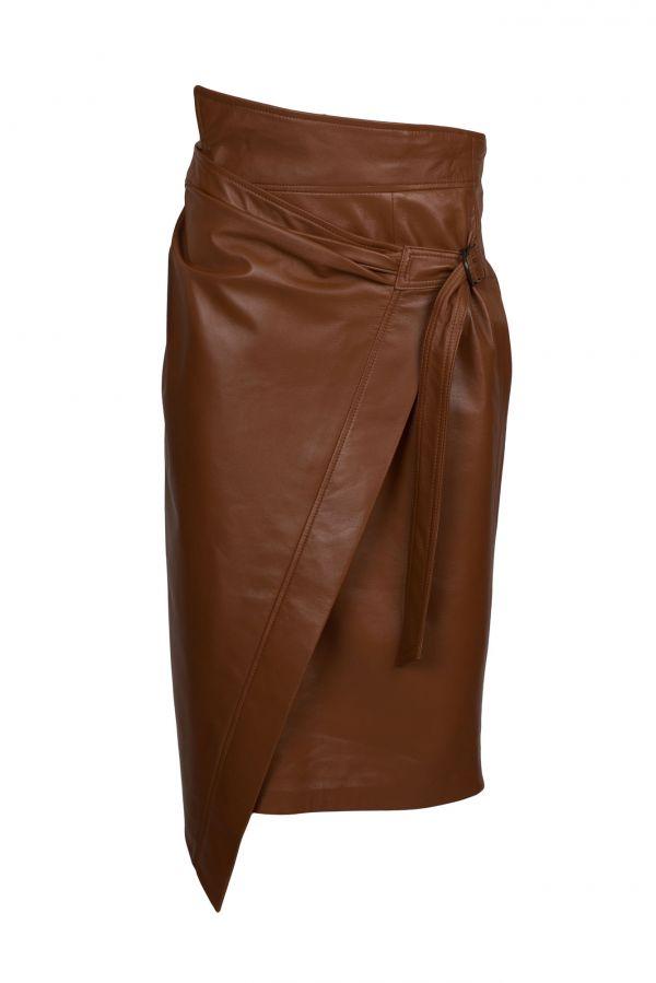 HONEY-Μακρυά δερμάτινη φούστα με ενσωματωμένη ζώνη