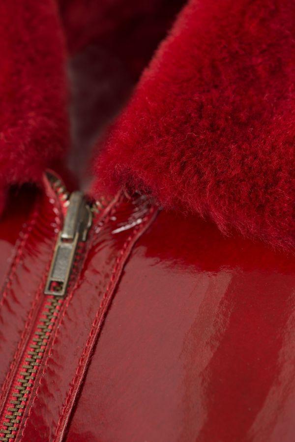 SALES -4614- Κόκκινο  Γυναικείο  μουτόν μπουφάν