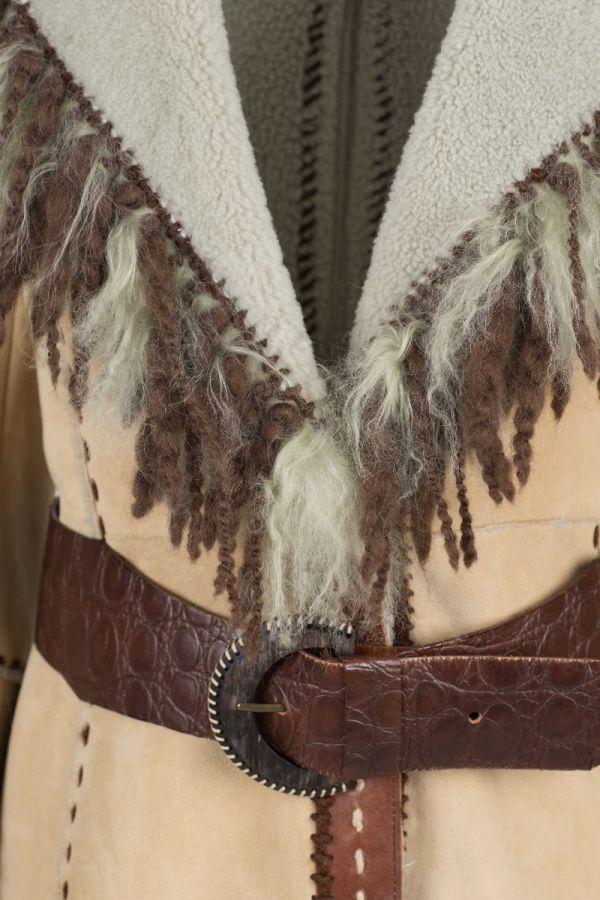 RICCARDA-Γυναικείο Sheepskin παλτό με χειροποίητα κεντήματα