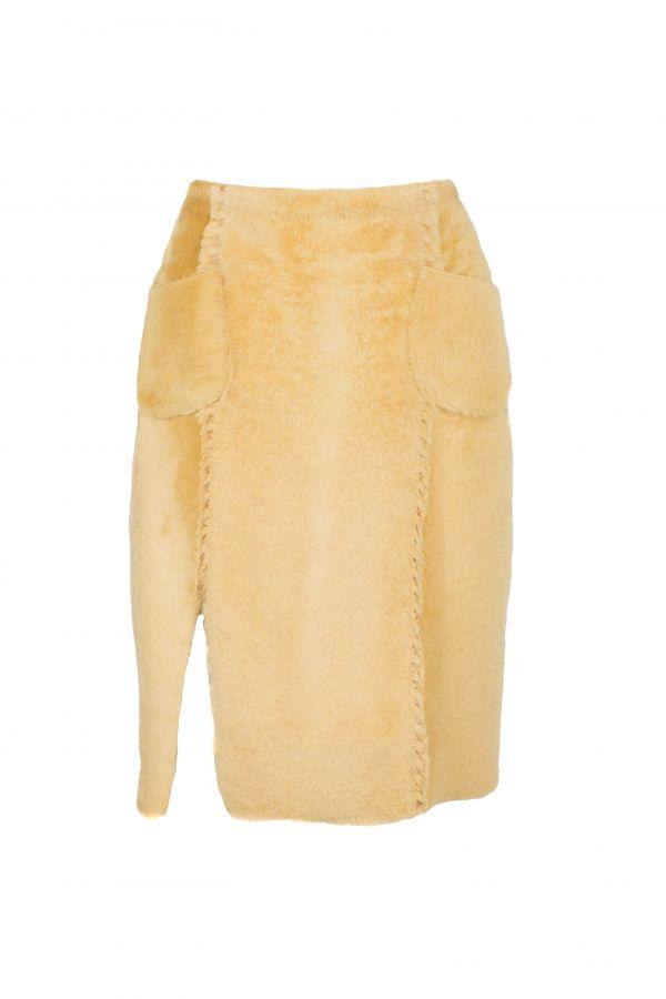 Reversible κιτρινη καστόρ sheepskin φούστα