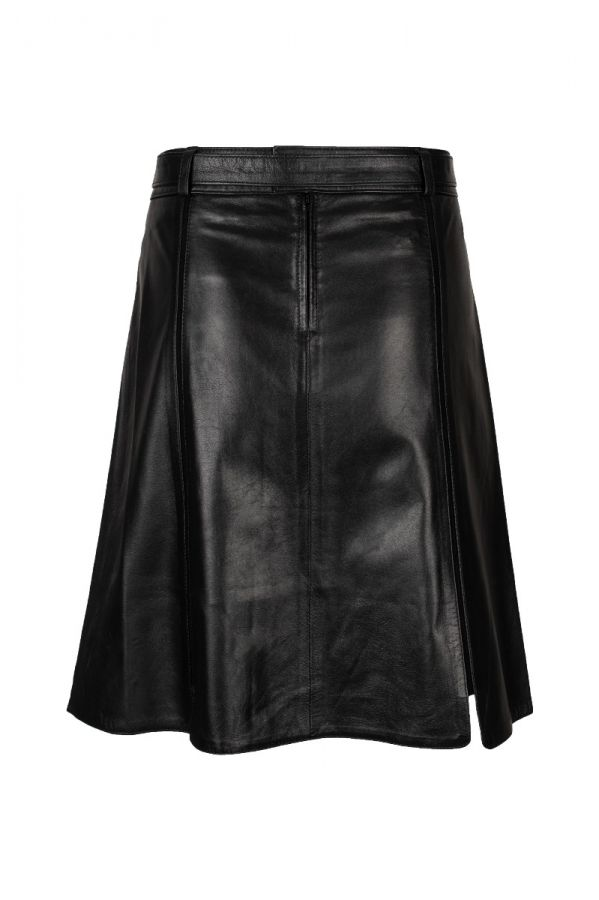 Black nappa leather skirt with suede stripes
