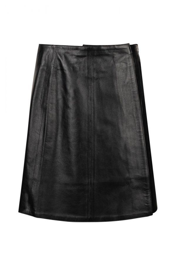 BAZAAR- δερμάτινη φούστα κλείσιμο με velcro (σκρατς)