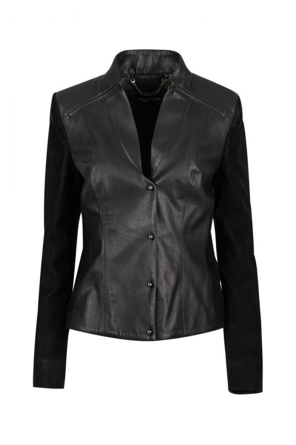 5529- Γυναικείο δερμάτινο σακάκι από δέρμα και καστόρ