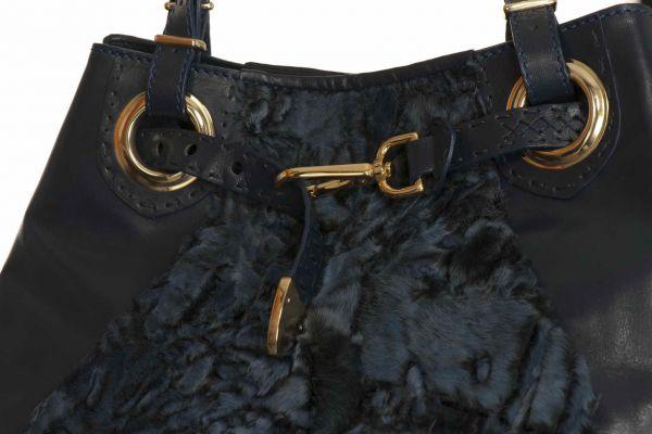 Blue  fur handbag.