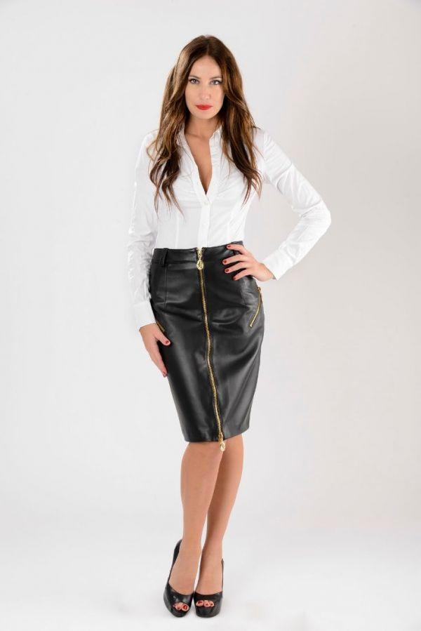 DIANA- Μακριά δερμάτινη φούστα