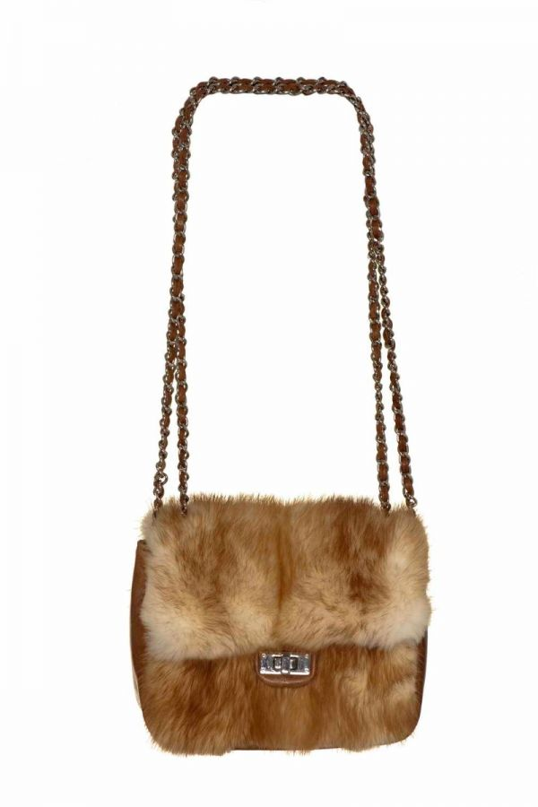 Camel fur and leather   crossbody bag
