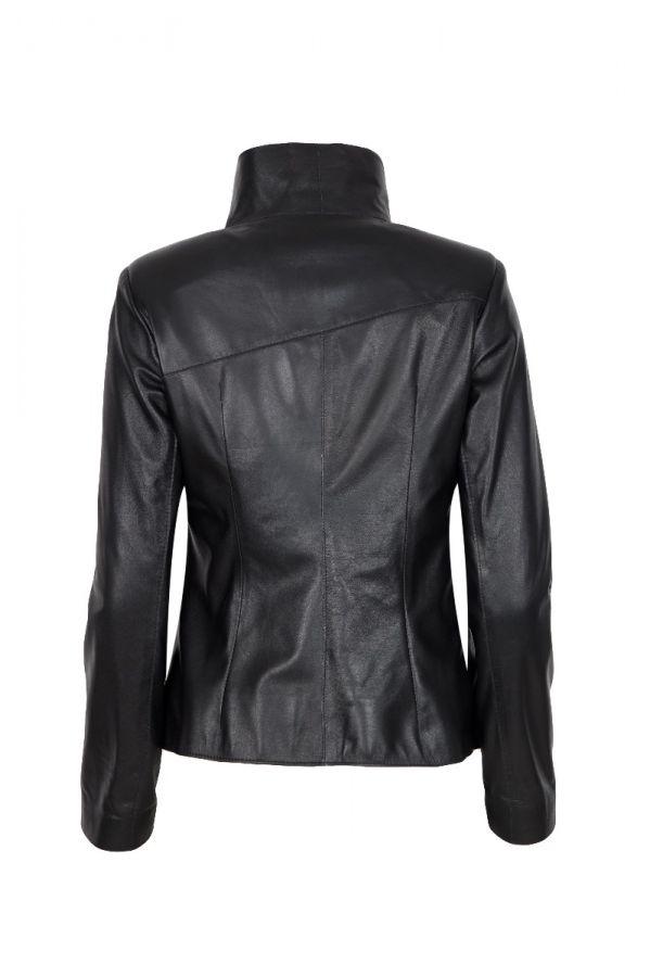 SELENE-  Μεσάτο μαύρο δερμάτινο jacket.
