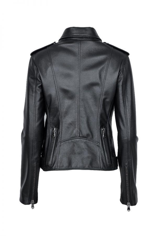 ANTIG-  γυναικείο Μαύρο δερμάτινο biker μπουφάν