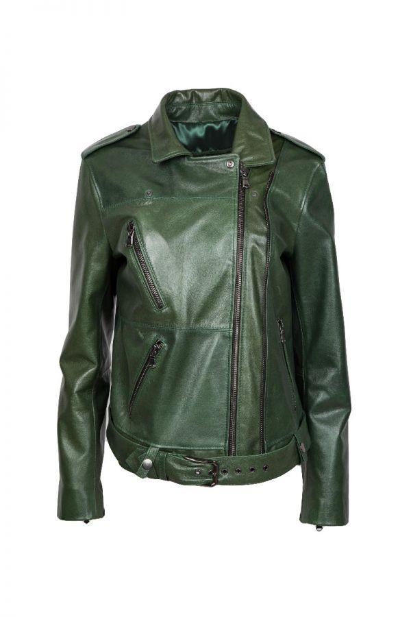 ANTIG-  γυναικείο πράσινο  biker μπουφάν από ποιοτικό δέρμα κεριού.