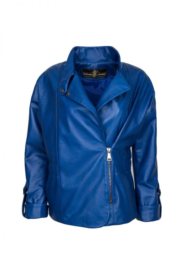 ALLISON- Γυναικείο μπλε ηλέκτρικ  biker jacket