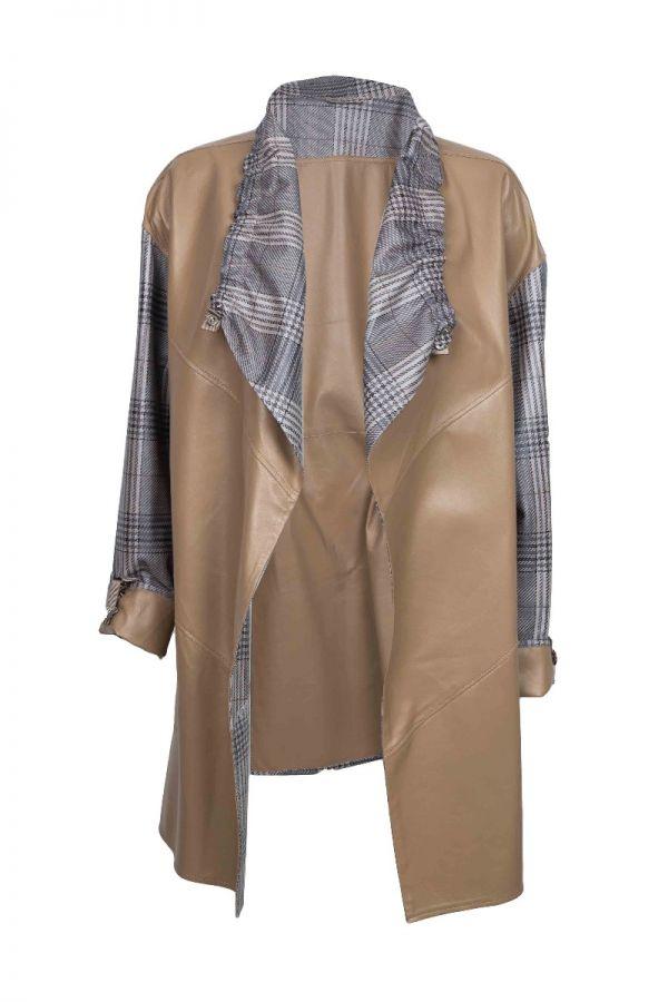 Ταμπά Γυναικείο δερμάτινο παλτό με διχρωμία και καρό σχέδιο.