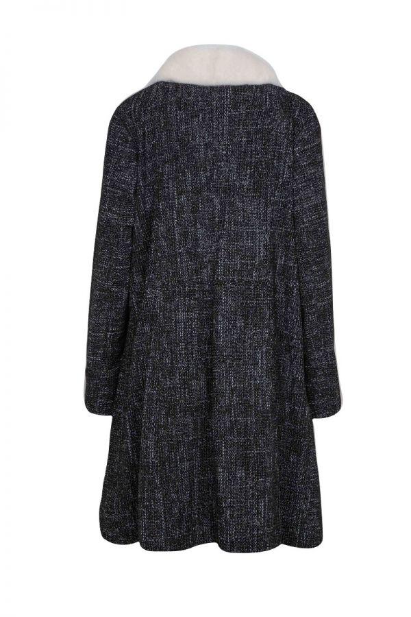 Σταμπωτό καστόρ παλτό με Γούνινο γιακά και μανσέτες.