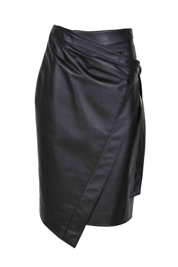 HONEY-Μαύρη Μακρυά δερμάτινη φούστα με ενσωματωμένη ζώνη