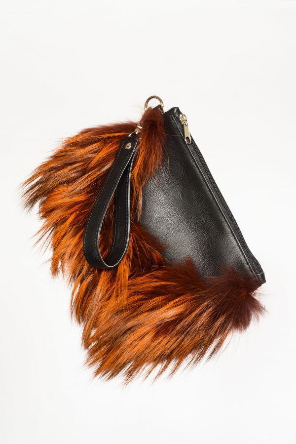 Δερμάτινη τσάντα με πορτοκαλί γούνα