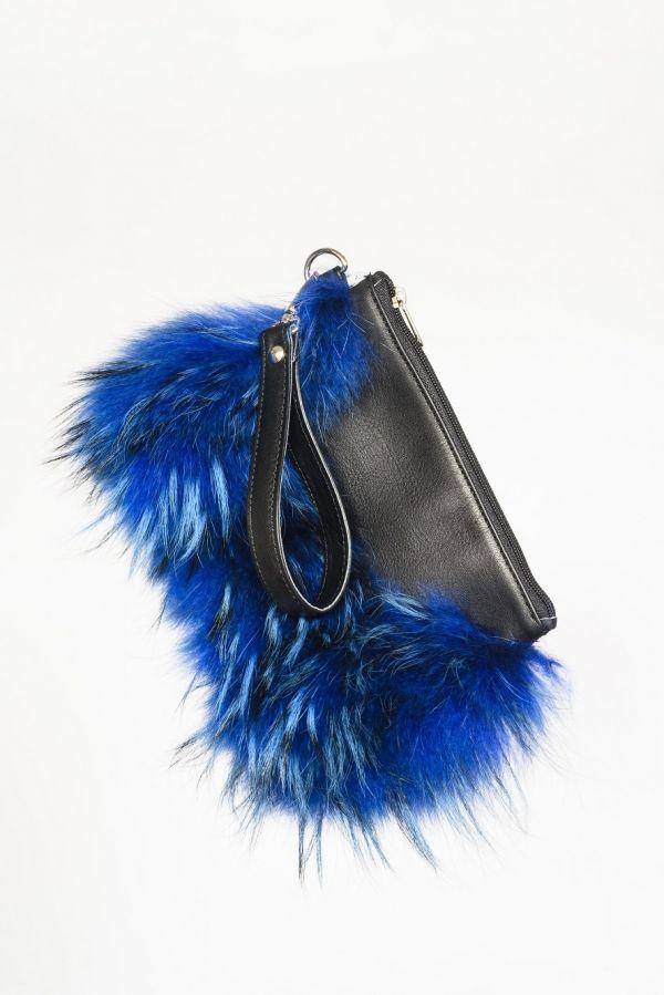 Δερμάτινη τσάντα με μπλε ηλεκτρίκ  γούνα
