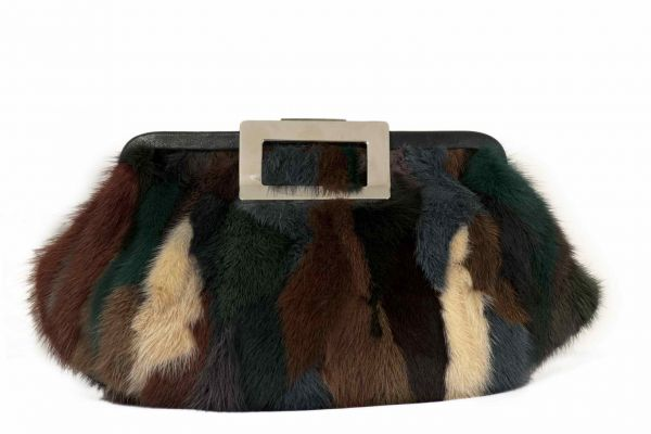 Multicolor fur clutch bag