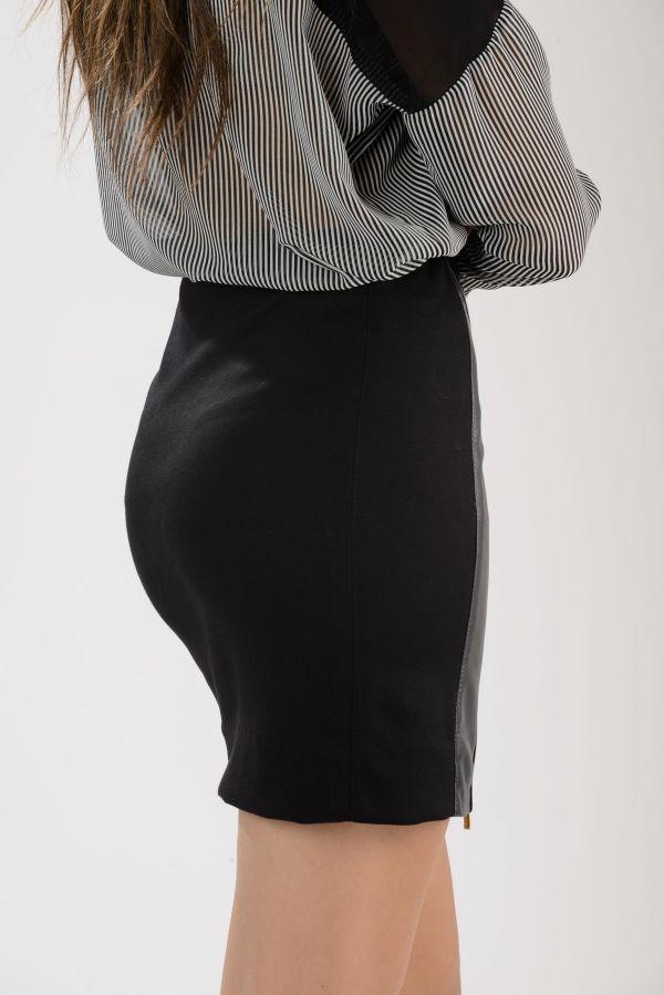 CARLA- Δερμάτινη φούστα με ελαστικό ύφασμα.
