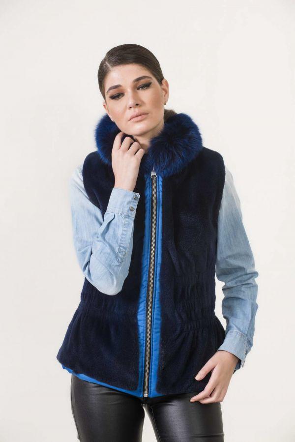 Μπλε ντουμπλφας γούνινο γιλέκο βιζόν