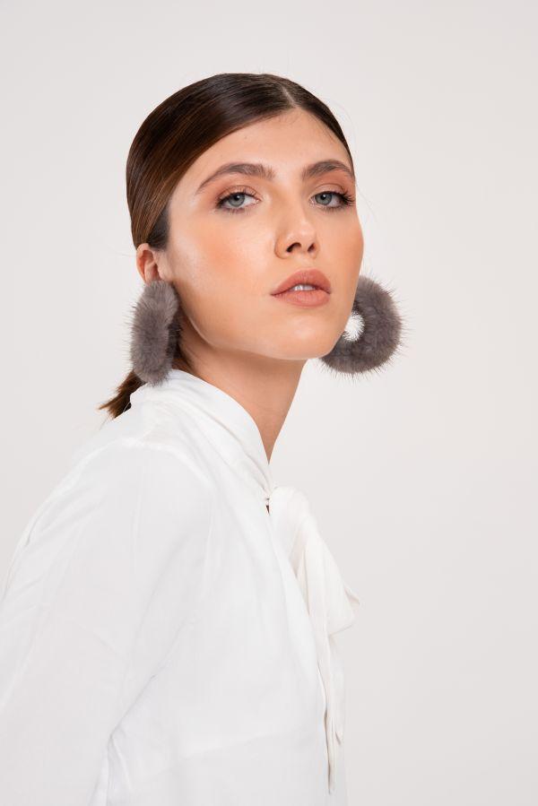 Γούνινα  κρίκοι σκουλαρίκια με blue iris γούνα