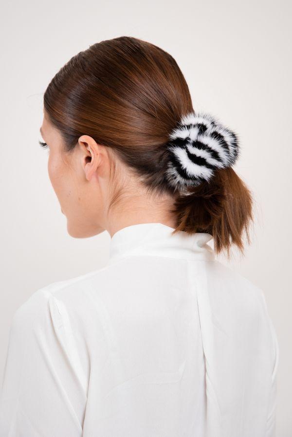 Black and white Mink hair tie