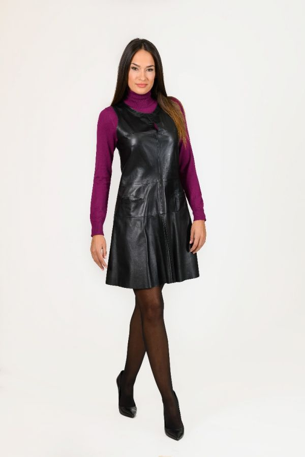 SAVOY-Δερμάτινο φόρεμα με πιέτες