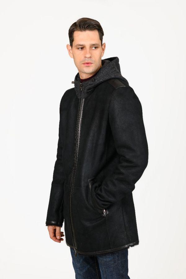 Αντρικό μουτόν παλτό  με κουκούλα