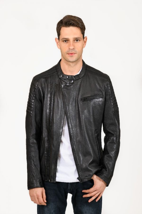 Hooper- Double zipped Biker leather jacket