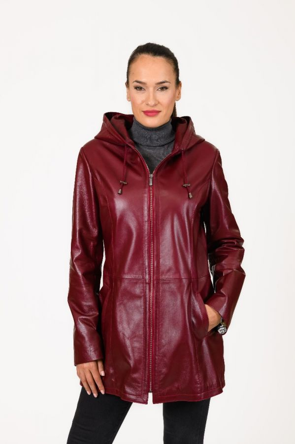 TRISS - Burgundy Women's Hooded  leather jacket